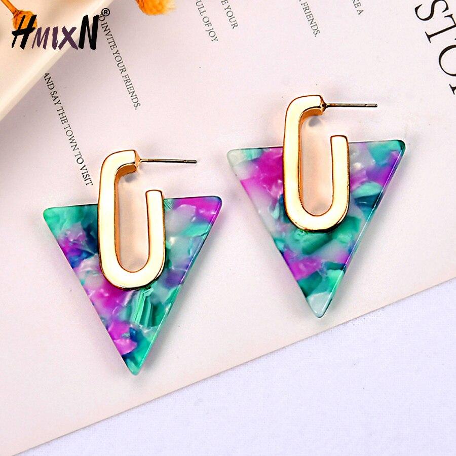 Stud-Earrings Acetate Geometric Fashion Jewelry Girl Colorful Triangle Bohemia Women
