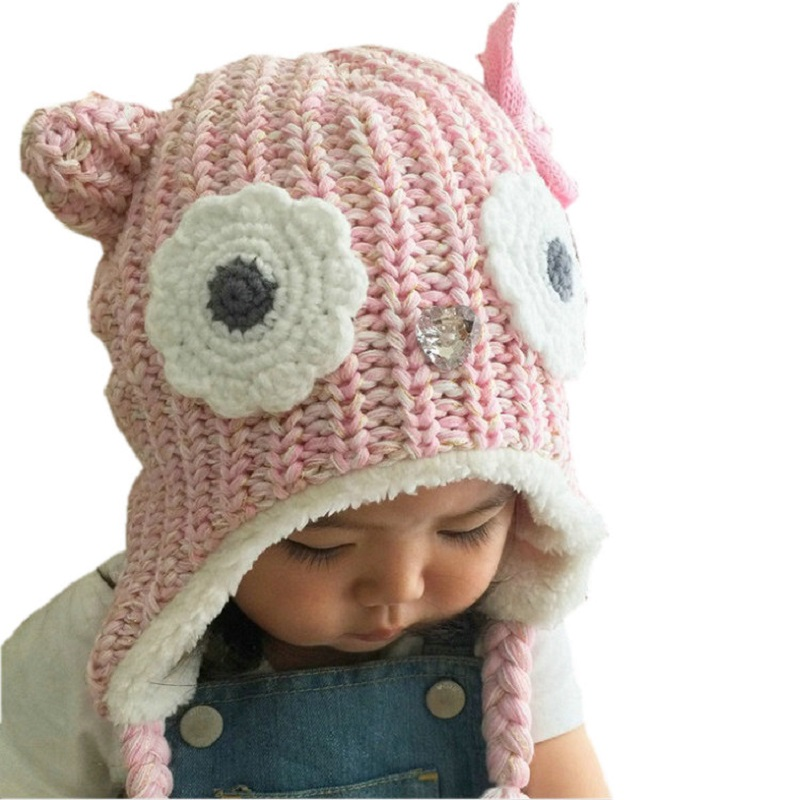 2017 New Brand LANGZHEN Girls Hats Pink Owl Kids Baby Winter Hats Bonnet Enfant Hat For Children Baby Muts KF079