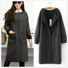 Vintage Ladies Blend Wool Coat Solid O-neck Double Pockets Long Coat 2016 Spring New Style Plus Size Womens Coats Outwear