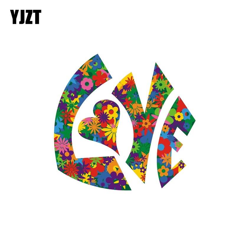 YJZT 12CM*11.5CM Love Flower Power Car Sticker Reflective Funny PVC Decal 12-1303