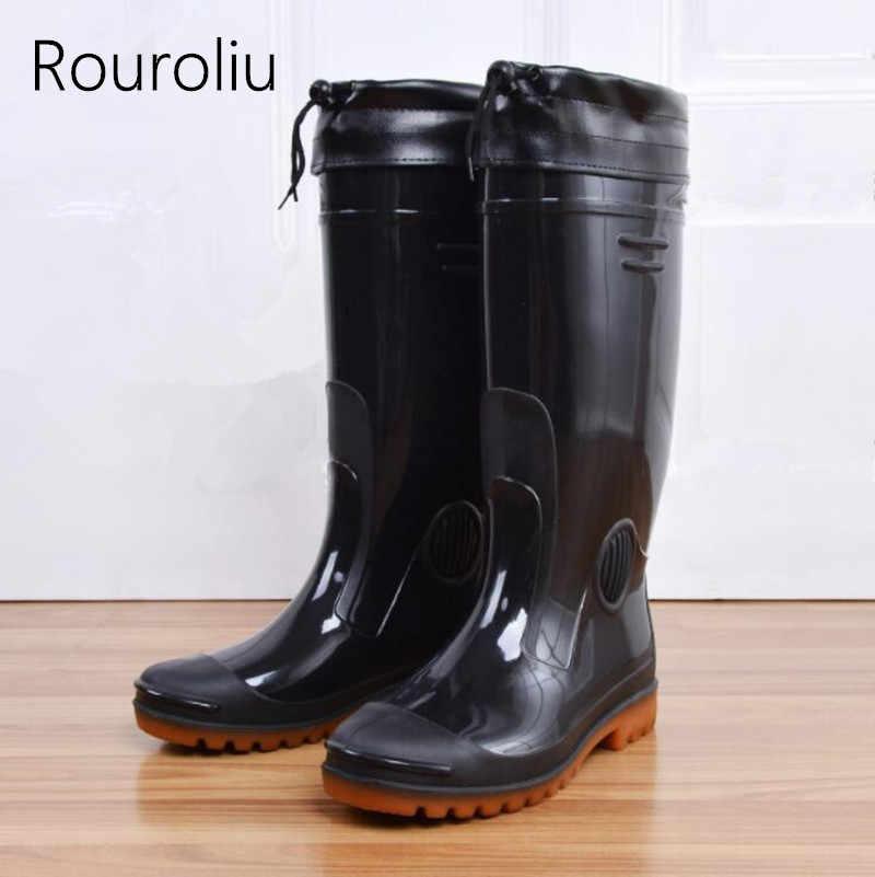 97dba61dd85 Detail Feedback Questions about Rouroliu Men's Winter Warm Rainboots ...