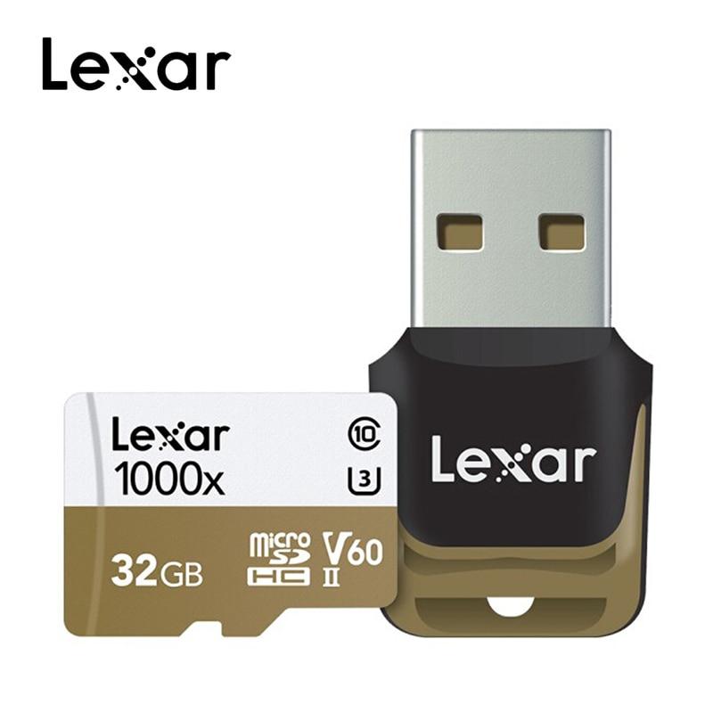 Lexar 1000x Micro SD 32GB 64GB 128GB Class10 150 MB/s tf lecteur de carte mémoire pour Drone Sport caméscope tablette ordinateur portable smartphone