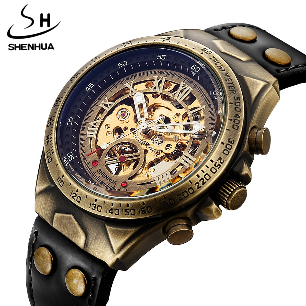 Automatic Leather Band Vintage Steampunk Bronze Steel Sculpture Skeleton Mens Mechanical Wristwatches