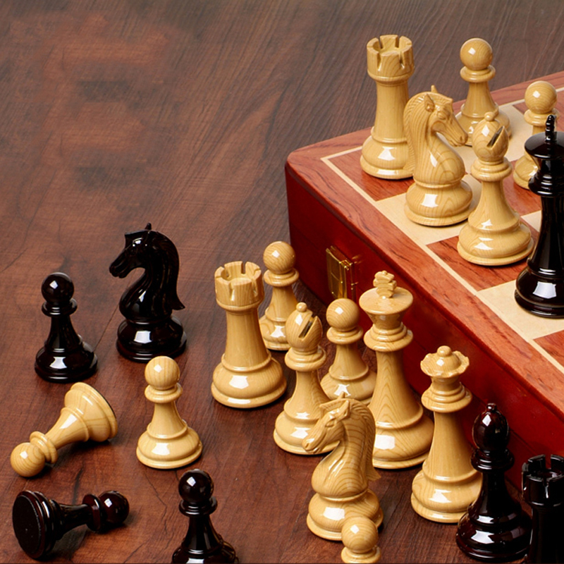 цена на BSTFAMLY wooden chess set game, portable game of international chess, High-grade folding chessboard ABS steel chess pieces, LA2