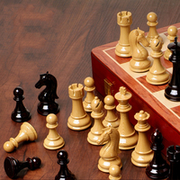 Wooden Chess Game Portable Game Of International Chess High Grade Folding Wooden Checkerboard Plastic Steel International