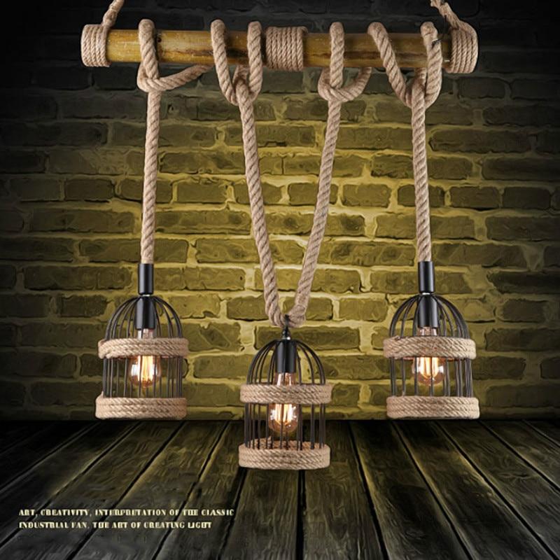 E27 Loft Vintage Rural pendentif lumière chanvre corde bambou fer Cage pendentif lampe tricoté à la main luminaire Restaurant salle à manger