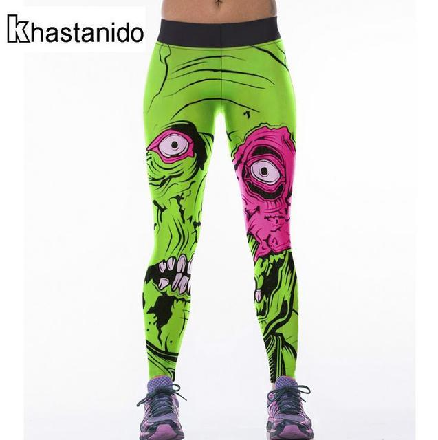 b17358d756483 Sexy High Waist Leggings 3d Printed Skull Workout Legging Spandex Punk  Fitness Pants Women Leggins Mujer