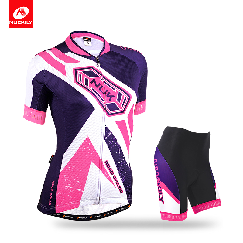 NUCKILY Summer Women Cool Max Cycling Wear 4 Back Pockets Bicycle Jersey and Custom Size Color Outdoor Shorts Suit GA013GB013
