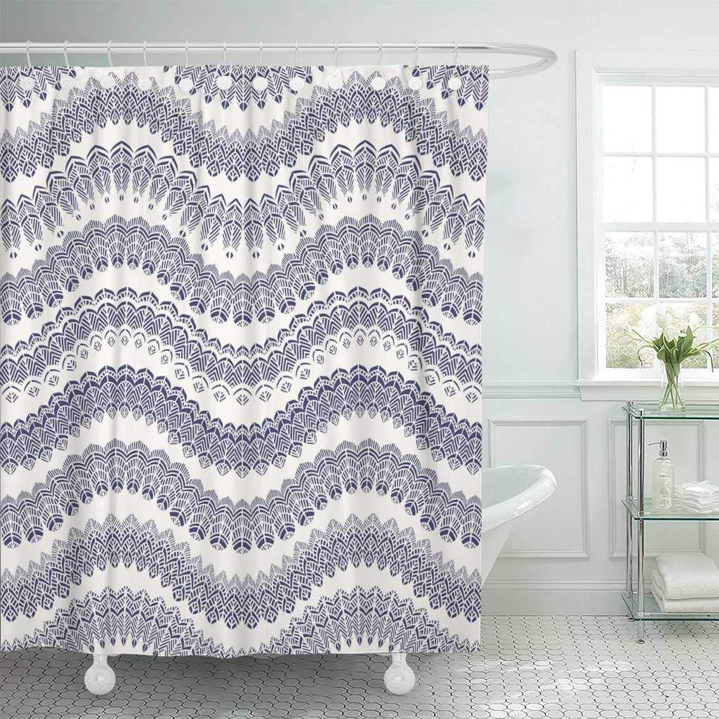 Us 17 06 36 Off Shower Curtain With Hooks Abstract Zig Zag With Bird Feather Silhouette Dark Indigo Blue Waves Lacy Tribal Bathroom In Shower