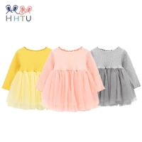 HHTU 2017 New Fashion Children Girls Gauze Skirt Dress Spring Autumn Long Sleeve Children Clothes Baby