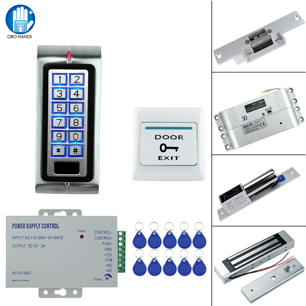 RFID Metal Access Control Lock System Kit Set 125KHz with 180KG Electric Magnetic Lock Drop Bolt