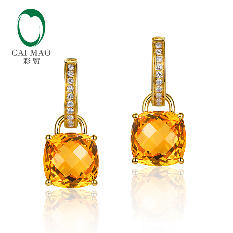 Caimao Bijoux 14 k Jaune Or 8.75ct SI Citrine & 0.16ct Naturel Diamants Amovible Boucles D'oreilles