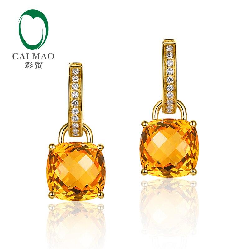 Caimao Dei Monili 14 k Diamanti Oro Giallo 8.75ct SE Citrino & 0.16ct Naturale Staccabile Orecchini a pendaglio