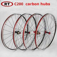 NEW Original RT HOT sale 700C alloy brake road bicycle carbon hubs wheel aluminium road wheelset chinese bicycle wheels 1600g