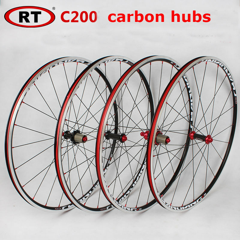 NEW Original RT HOT sale 700C alloy brake road bicycle carbon hubs wheel aluminium road wheelset chinese bicycle wheels 1600g mountain bike four perlin disc hubs 32 holes high quality lightweight flexible rotation bicycle hubs bzh002