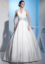 Jeanne Love New Arrival Wedding Dresses 2017 Halter Beading Belt Taffeta V Neck Robe De Mariage Vestido Novia JLOV75923