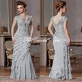 Elegant Silver Gray Chiffon Lace Appliqued Mermaid Mother of the Bride Dresses Long Evening Gowns Plus Size Wedding Mother Dress