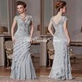 Elegante cinza prata Chiffon Lace Appliqued da sereia mãe da noiva vestidos longos de noite vestidos Plus Size casamento vestido da mãe
