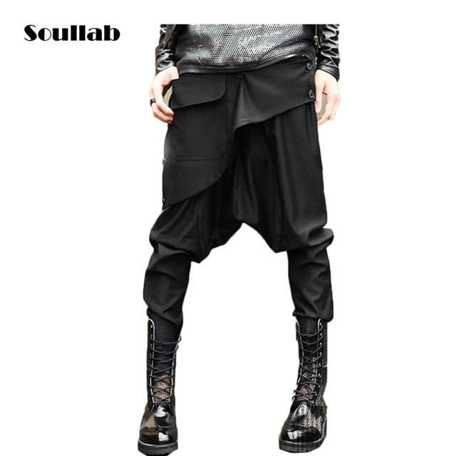 1467bdf7068ebd Fashion icon design hot designer Black Womens Mens bottom Harem Drop Crotch  Pants Sweatpants side button slim fit swag brand new