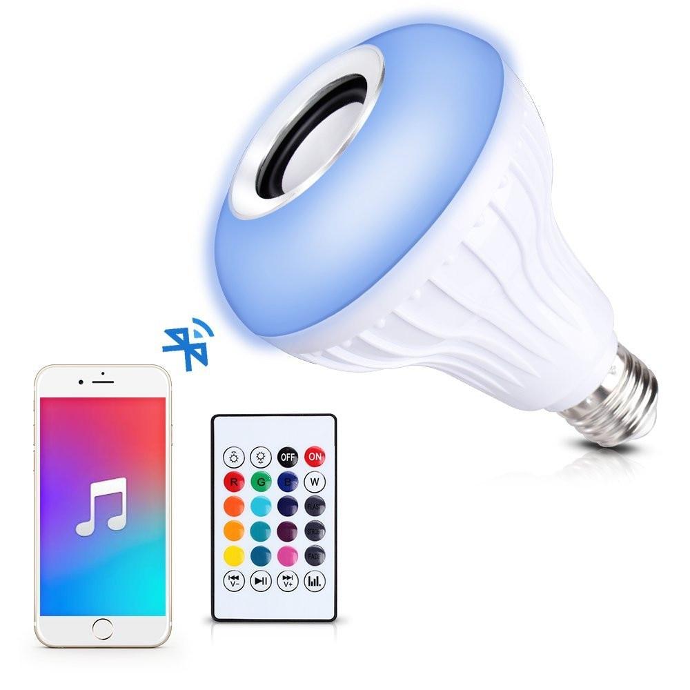 Wireless Bluetooth Speaker 12W E27 LED RGB Music Bulb Lamp Smart led RGBW Music Player Audio Light with Remote Control wireless e27 bluetooth remote control mini smart led audio speaker rgb 9 color light warm bulb music lamp car styling