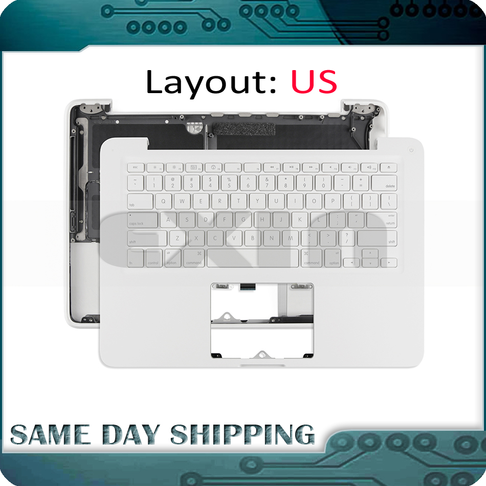 Full New for MacBook 13 White Unibody A1342 US USA English Keyboard with Topcase Top Case