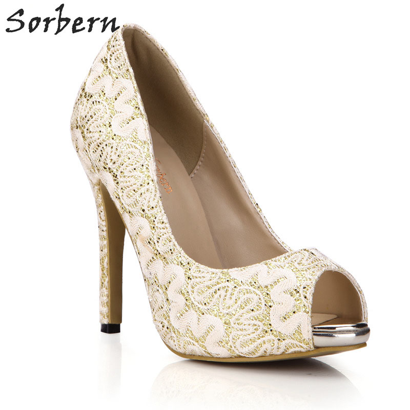 Sorbern Gold Lace Wedding Shoes Peep Toe Pumps High Heels Stilettos Custom Red Bottom Heels For Ladies Available Gold Shoes Heel цена 2017