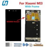 Xiaomi mi3จอแสดงผลLcd +หน้าจอสัมผัสที่มีกรอบดิจิตอลแผงเปลี่ยนกระจกสำหรับXiaomi Mi3 M3 WCDMAโทรศัพท์