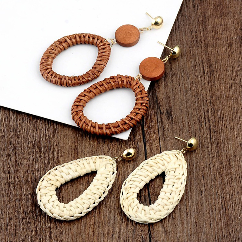Geometric Wooden Straw Weave Women Beach Bohemian Circle Holiday Dangle Summer Drop Earrings Square Rattan Jewelry Earrings 3