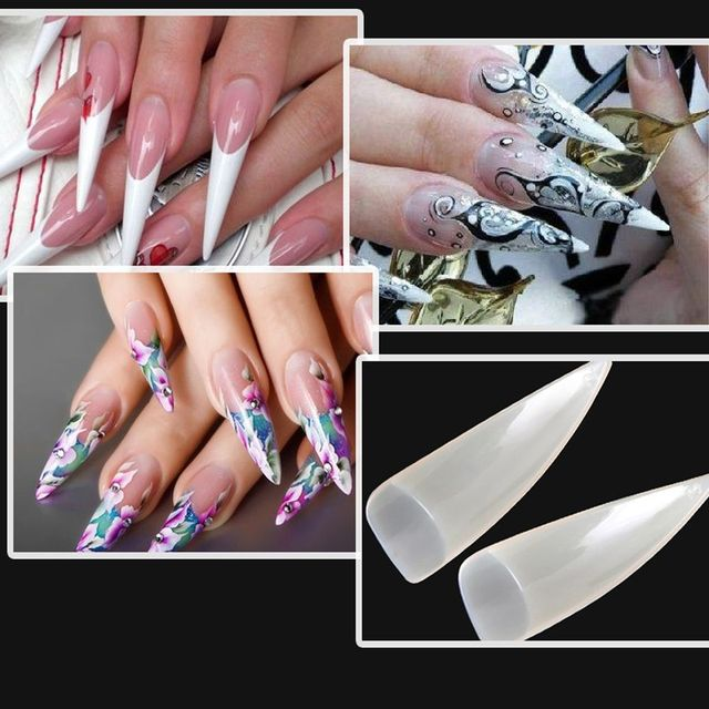 500 Pcs Pack Full Cover Eagle Claw Shape Acrylic False Nails Uv Gel Beauty Manicure