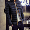 2016 Men Zipper Down Coat Stand Collar Solid Slim XXS Small Size Parkas White Goose Down Thin winter jacket Warm Coat