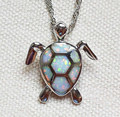 White Fire Opal Stone Sea Turtle Pendant Necklace ~ Free Dropshipping with ePacket