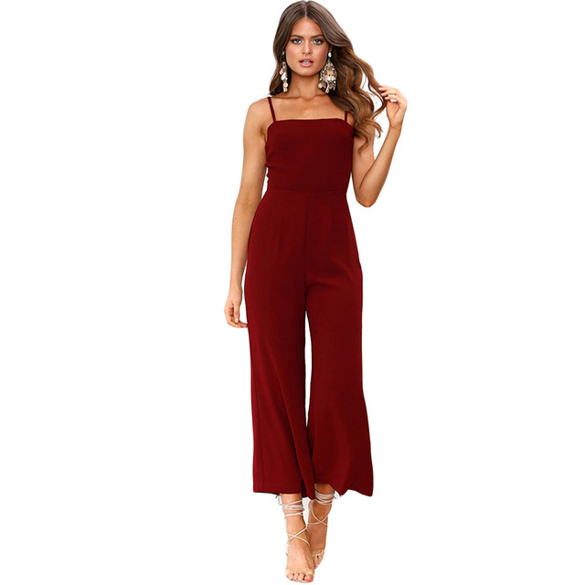 d2f2fe0e2ddf Women Spaghetti Strap Casual Jumpsuit Overalls Sleeveless Elegant Straight  Jumpsuits Long Pants Backless Summer Fashion YF900