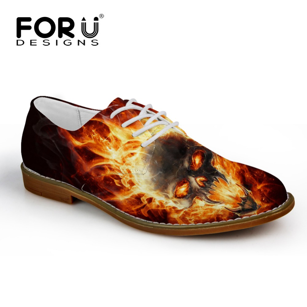 FORUDESIGNS Fashion Men's Casual Leather Shoes Cool Fire Skull Printed Lace-up Flats for Man Breathable Leisure Male Oxford Shoe