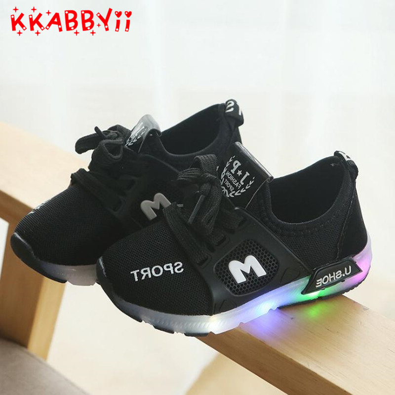 LED Luminescent Kids Sneakers Fashion Children Casual Shoes Baby Boys Girls Running Shoes Soft Bottom First Walk EU 21-30