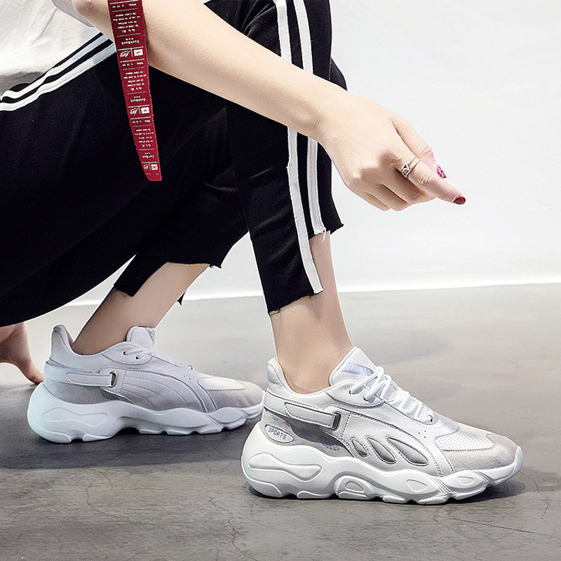 Jookrrix 2018 Autumn White Shoes Women Brand Platform Sneakers Lady chaususre Patchwork Female footware Breathable Girl Flats 5