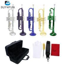 Bb труба B плоская Посеребренная латунная Изысканная с мундштуком Чистящая Щетка тканевые перчатки ремень