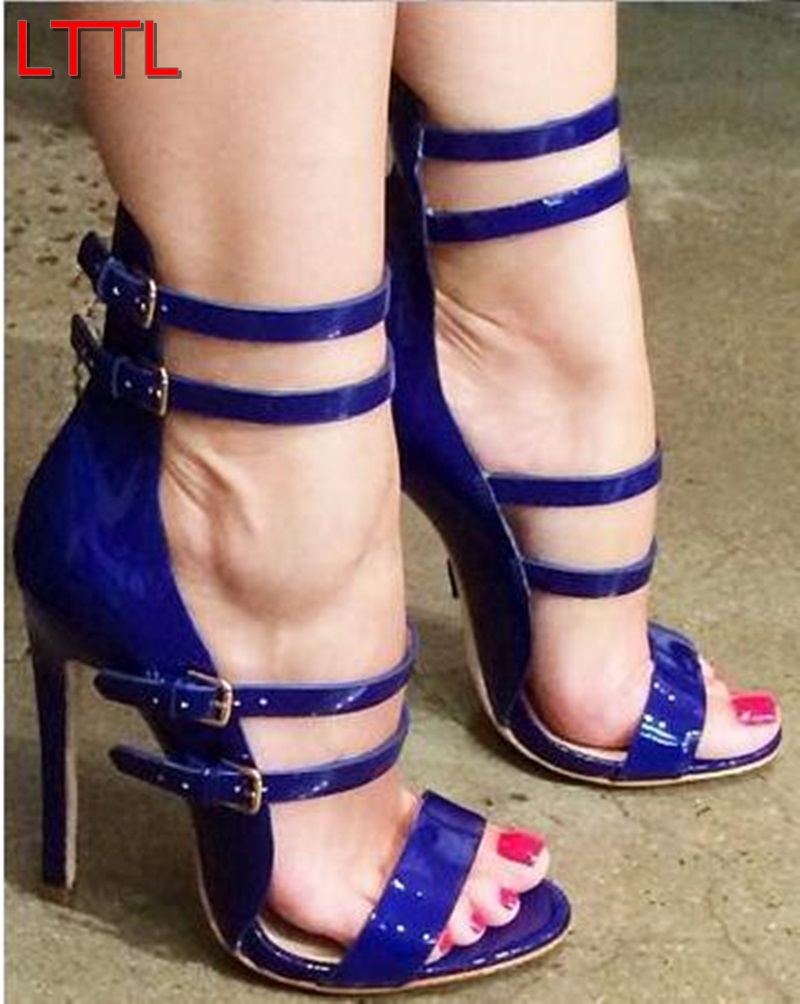 2015 Women Red Sandals Sexy High Heels Ankle Strap Gladiator ...