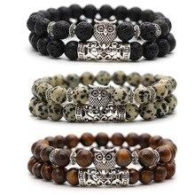 Мужской браслет из черной лавы 2 шт набор молитвенных бусин Будда бисерные браслеты для женщин и мужчин s мужской браслет