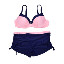 Swimsuit Bikinis Retro Sexy Bikini Set Women S-XXL Bathing Suit Women Biquini Solid Push Up Bra Boxers Beach Wear Swimwear Women