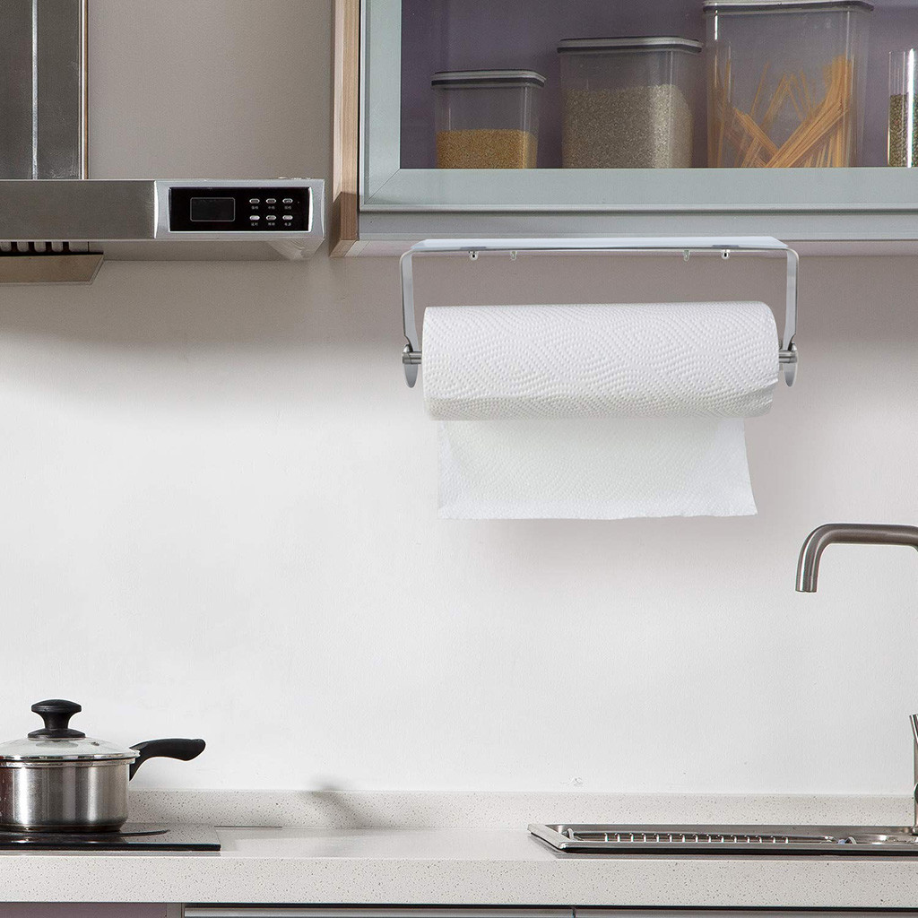 Paper towel rack kitchen bathroom drawing cabinet under the rubber stainless steel paper towel holder paste wall hanging L0423Paper towel rack kitchen bathroom drawing cabinet under the rubber stainless steel paper towel holder paste wall hanging L0423
