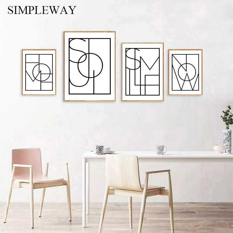 Abstract Letters Canvas Poster Simple Minimalist Wall Art Print Black Whtie Painting Decorative Picture Modern Living Room Decor in Painting Calligraphy from Home Garden