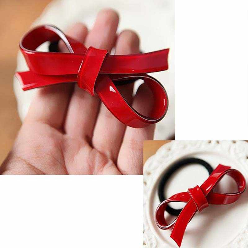 Cute Girls Smooth Acrylic Hair Rope Red Bowknot Elastic Hair Bands For Women Hair Accessories Headwear Bow Ties Ponytail Holder