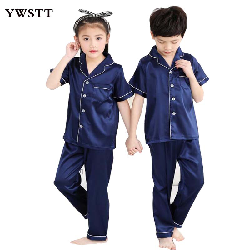 New Spring Summer Girls Boys Sleepwear Pajamas Clothing Set Kids Teens Nightwear Clothes Children Boy Casual Silk Fabric Pajamas sexy v neck silk material pajamas set in green