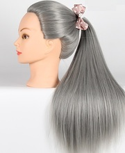 CAMMITEVER Grey Hair Heads Woman Mannequin Head Hairdress Doll Gray Hair Hair Hairdressing Mannequins Female Hairdress Practice