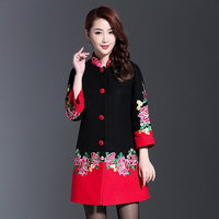 Elegant Woolen Embroidery Women Winter Long Warm Coats Black And Red Patchwork Single Breasted Cashmere Overcoat 4XL Trench coat