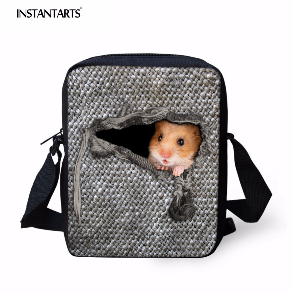INSTANTARTS Cute Hamster Mini Schoolbags for Children Men Mochilas Messenger Shoulder Ba ...