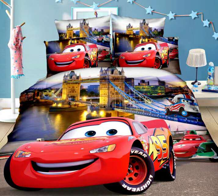 Disney McQueen Cars Bedding Set Duvet Covers Single Twin Size Bedroom Decoration Boy Children's Babies Bed 2/3 Pieces Purple Red