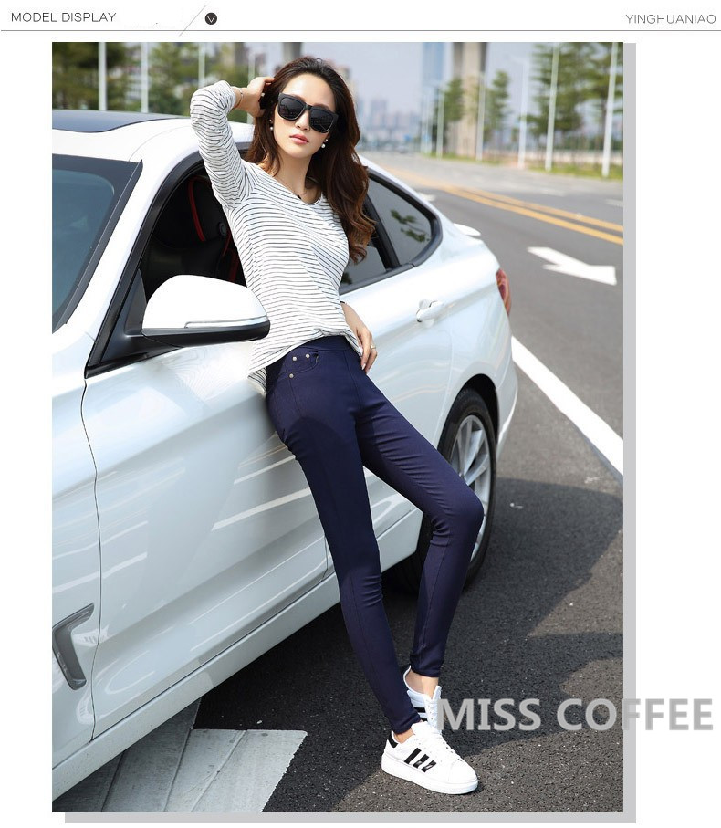Free Shipping 17 New Autumn Fashion Pencil Jeans Woman Candy Colored Mid Waist Full Length Zipper Slim Fit Skinny Women Pants 11