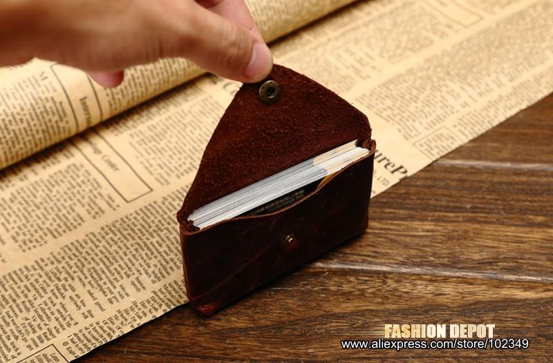 Oil Waxed Dark Brown Credit Card Wallet Card Bag Coin Wallet man and women (3)