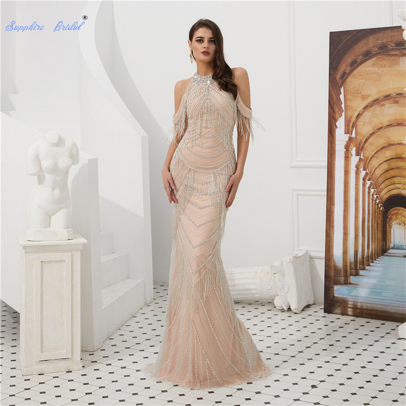 Sapphire Bridal Off The Shoulder Sequin   Evening     Dress   with Tassel Vestido De Fiesta See Through Back Sexy Mermaid Formal   Dress